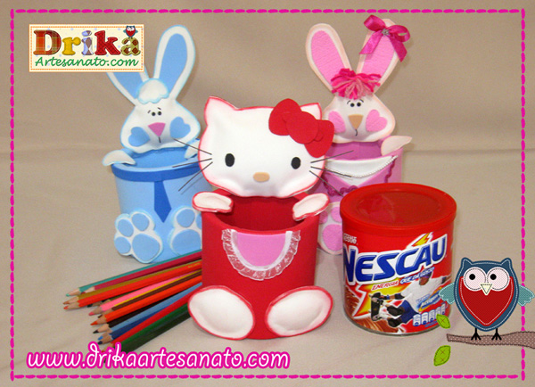 Hello Kitty com lata reciclada e coelhinhos post