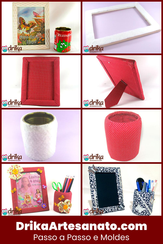 Como Fazer Porta Lápis e Porta Retrato com Tecido e Reciclagem