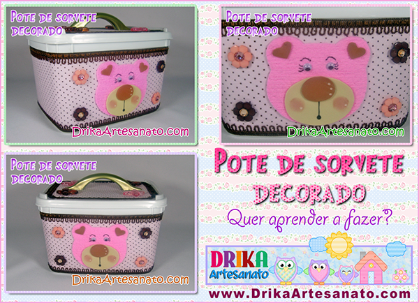 Pote de sorvete decorado
